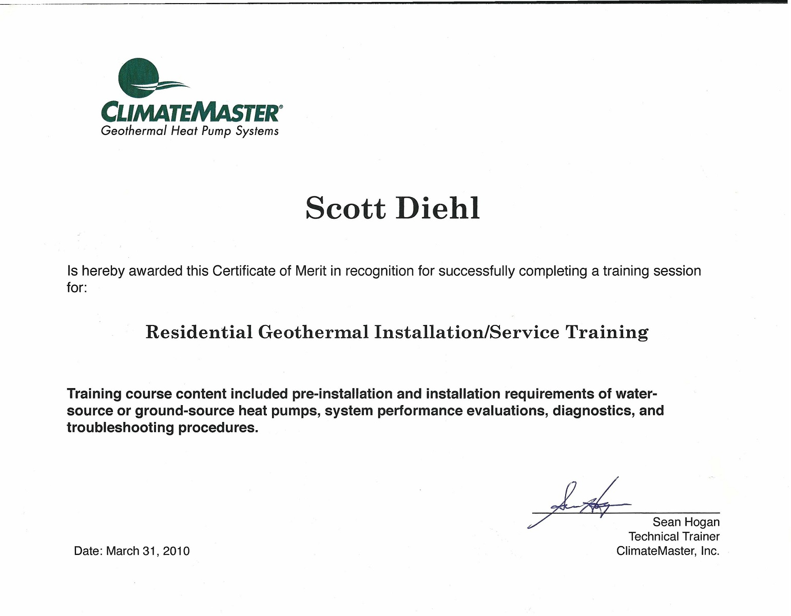 Scott Climate Master Residential Geothermal Installation and Service